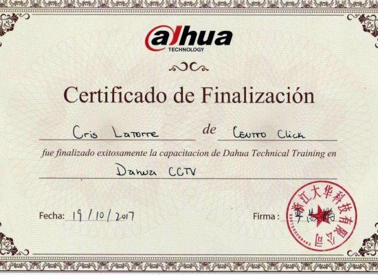 Certificado Oficial de Dahua para Centroclick Chile