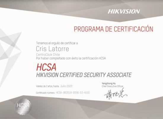 Certificado Oficial de Hikvision para Centroclick Chile